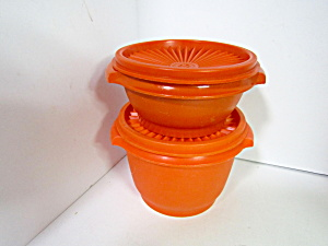 Vintage Tupperware Orange Servalier Bowls