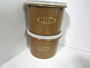 Vintage Tupperware Round Brown Coffee/Tea Canister Set (Image1)