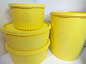Vintage Tupperware Servalier Yellow Canister Set Ii