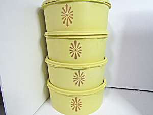 Vintage Tupperware Servalier Yellowgold Canister Set