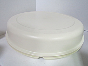 Vintage Tupperware Round Almond Party Tray Server