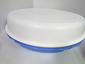Vintage Tupperware Round Blue Party Tray Server