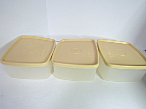 Vintage Tupperware Harvest Gold Rectangle Container Set