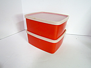 Vintage Tupperware Red Rectangle Container Set