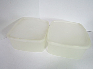 Vintage Tupperware Sheer Clear Rectangle Container Set