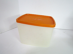 Vintage Tupperware Orange/Clear  Rectangle Container (Image1)