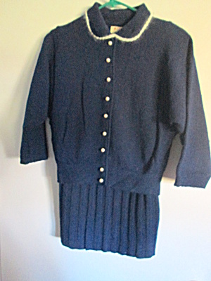 Vintage Kimberly Blue Sweater & Skirt Dress Set