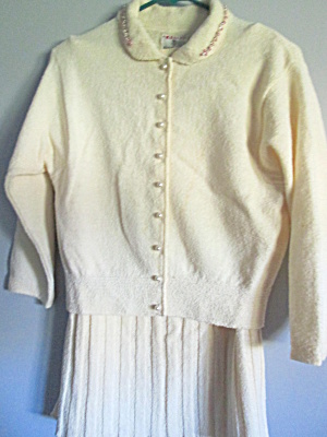 Vintage Kimberly Ivory Sweater & Skirt Dress Set