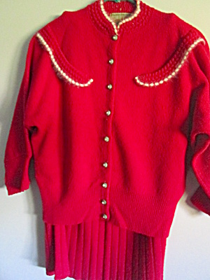 Vintage French Knit Red Sweater & Skirt Dress Set