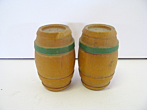 Vintage Wooden Barrel Salt & Pepper Shaker Set