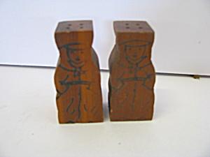 Vintage Wooden Sailor Boys Salt & Pepper Shaker Set
