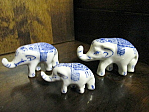 Vintage Elephant Figurines Blue/white Indian Design