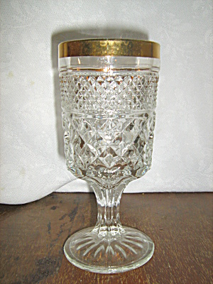 Anchor Hocking Wexford Gold Trimed Wine Goblet