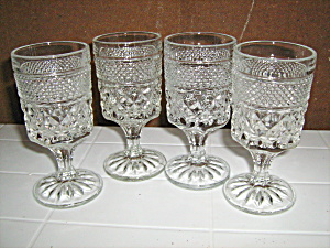 Vintage Anchor Hocking Wexford Set Of 4 Wine Glasses .