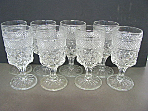 Vintage Anchor Hocking Wexford Set Of 8 Wine Glasses .