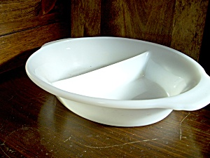 Vintage Fire King White Glass Divided Serving Dish