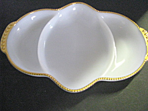 Vintage Fire King Milk White 3-part Serving Dish