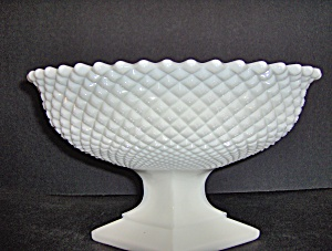 Westmoreland Milk Glass Footed Bowl English Hobnail