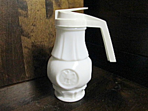Vintage Wheaton Eagle Coin Milk Glass Syrup Container