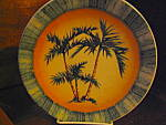 Click here to enlarge image and see more about item apwd1a: Art Decor Tropical Oasis Green Palm Tree Plate