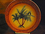 Click here to enlarge image and see more about item apwd2a: Art Decor Tropical Oasis Brown Palm Tree Plate