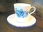 Click here to enlarge image and see more about item ccbv4c: Corelle Blue Velvet Coffee Cup & Saucer Set