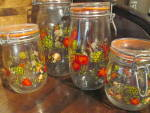 Click here to enlarge image and see more about item cscj12c: Vintage Canning Jar Canister Set  Vegetable Design