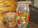 Click here to enlarge image and see more about item cscj14c: Vintage Veggie  Glass Jar Canister Set  Made In France