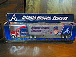 Click here to enlarge image and see more about item ctruck11n: White Rose Atlanta Braves Express Discast Truck