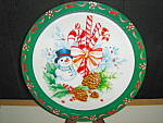 Click here to enlarge image and see more about item ctt10l: Christmas Tin Tray Snowman with Candy Cane