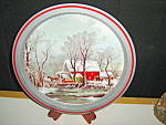 Click here to enlarge image and see more about item ctt11l: Christmas Tin Tray Farm Scene