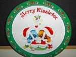 Click here to enlarge image and see more about item ctt7l: Christmas Tin Tray Hugging Puppies