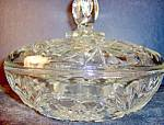 Click here to enlarge image and see more about item ea14l: Anchor Hocking  Crystal Pressed Cut Glass Coverd Bowl