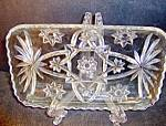 Click here to enlarge image and see more about item ea17l: Anchor Hocking Crystal Pressed Glass  Relish Tray 12in.