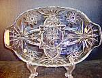 Click here to enlarge image and see more about item ea18l: Anchor Hocking Crystal Presse Glass Divided Relish Dish