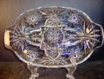 Click here to enlarge image and see more about item ea18m: Anchor Hocking Crystal Presse Glass Divided Relish Dish