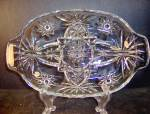 Click here to enlarge image and see more about item ea18q: Anchor Hocking Crystal Presse Glass Divided Relish Dish