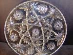 Click here to enlarge image and see more about item ea3m: Anchor Hocking Crystal Pressed Cut Glass Round Plater