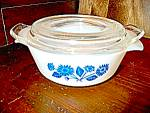 Click here to enlarge image and see more about item fkcfb8p: Fire King Cornflower Individual Casserole