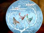 Click here to enlarge image and see more about item havlimo1n: Twelve Days of Christmas Plate Three French Hens