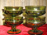 Click here to enlarge image and see more about item ingcrownc6a: Indiana/Colony Green Thumbprint Set of 4 Sherbets