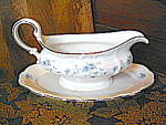 Click here to enlarge image and see more about item jhbg3e: Johann Haviland  Blue Garland Attacted Plate Gravy Boat