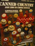 Click here to enlarge image and see more about item LA381n: Leisure Arts Canned Country Jar Lids  Cross Stitch #381