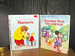 Click here to enlarge image and see more about item lgb53l: Little Golden Book Of Manners &  Amanda