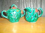 Click here to enlarge image and see more about item lhc2g: Lefton Green Holly Covered Sugar & Creamer Set