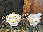 Click here to enlarge image and see more about item meito1d: Meito China Hand Painted Creamer and Sugar Bowl