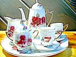 Click here to enlarge image and see more about item miteatt2l: Miniature Red Rose Tea Set