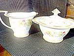 Click here to enlarge image and see more about item norariana1l: Noritake Ariana Sugar Bowl and Creamer Set