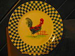 Click here to enlarge image and see more about item rnorf1e: Royal Norfolk Green Checked Plate with Rooster
