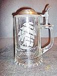 Click here to enlarge image and see more about item st12l: Vintage Glass Etched Crystal Stein With Pewter Lid